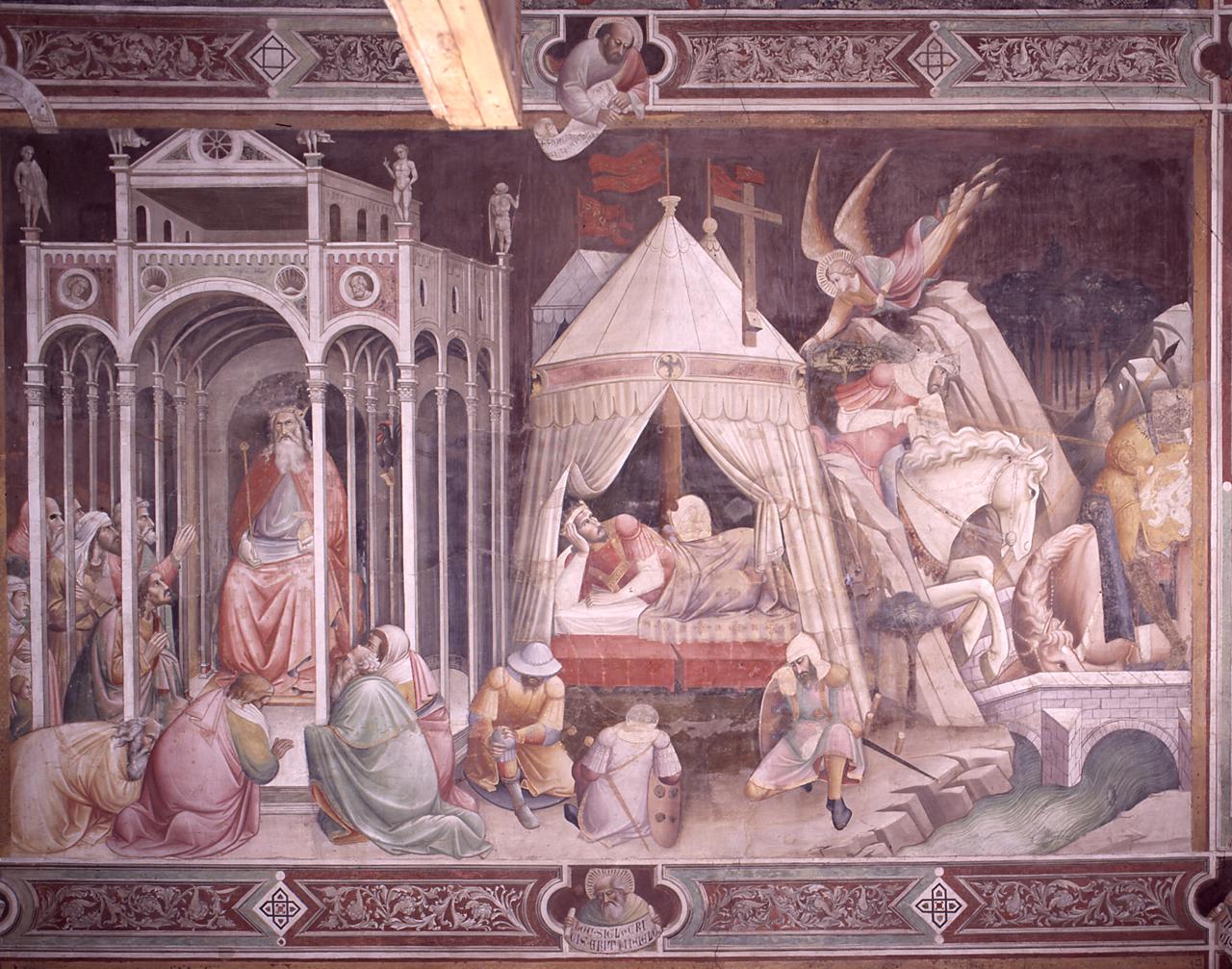 Corsoe II di Persia adorato dai cortigiani, sogno di Eraclio e battaglia di Eraclio e Corsoe II di Persia (dipinto) di Gaddi Agnolo (e aiuti) (sec. XIV)