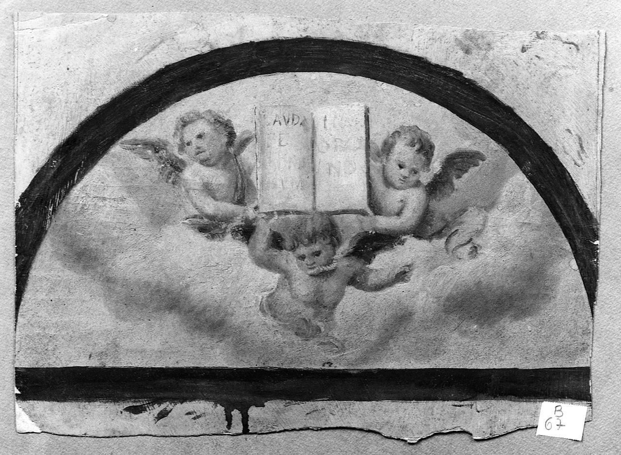 angioletti con libro (dipinto) - ambito romano (sec. XIX, seconda metà)