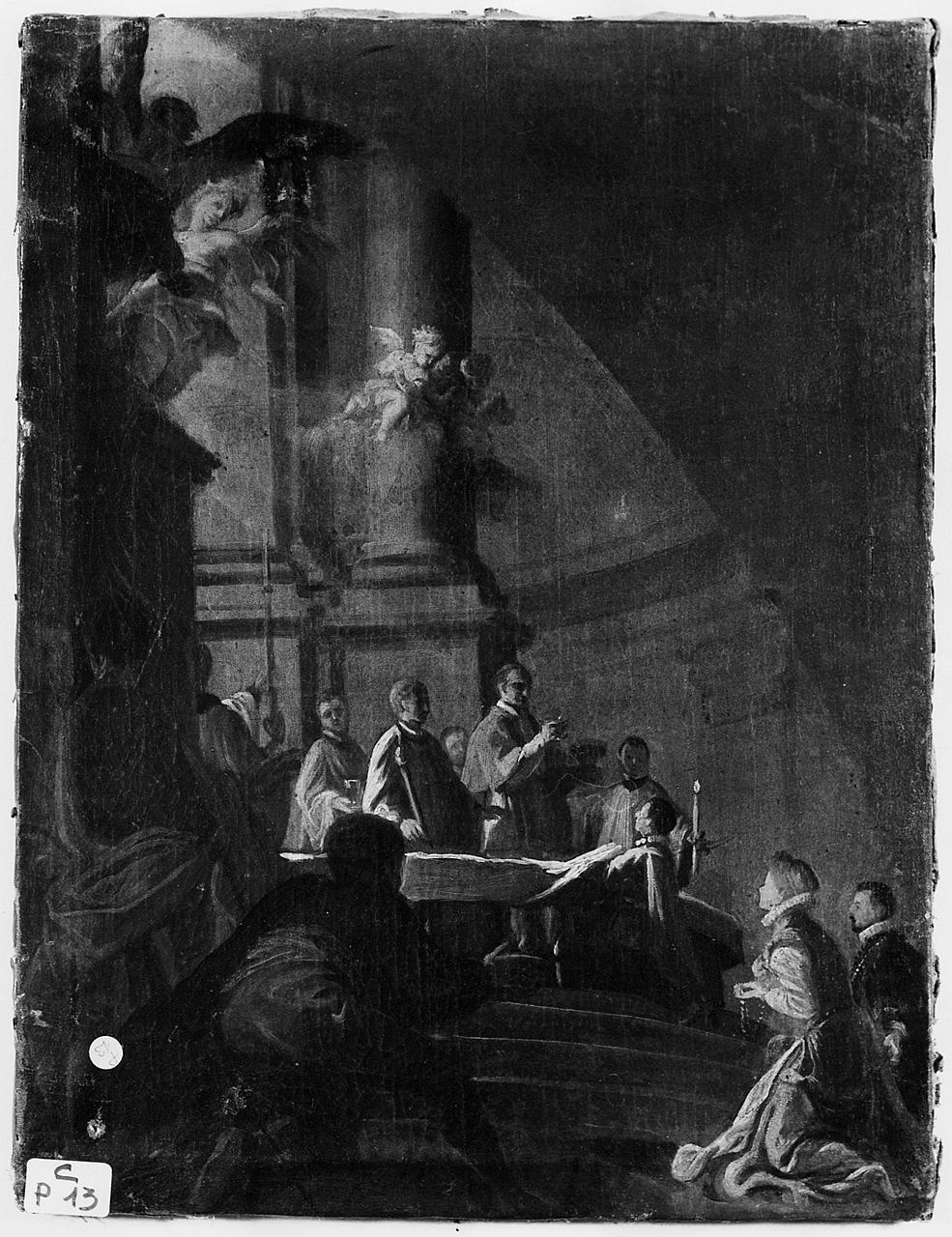 celebrazione eucaristica in chiesa (dipinto) - ambito romano (sec. XVII, seconda metà)