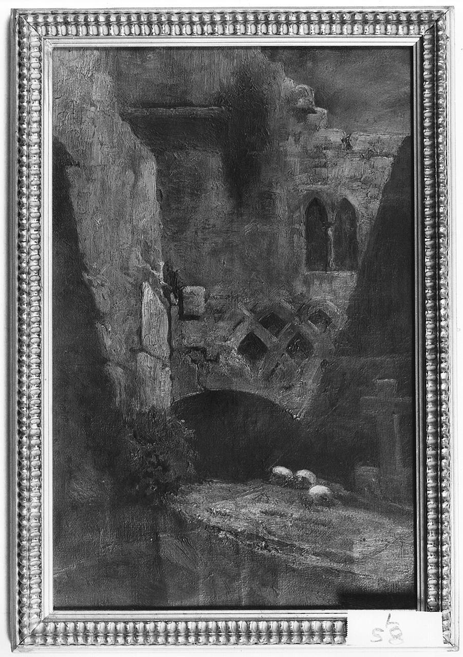 Tomba in una corte, paesaggio con rovine (dipinto) di Cabianca Vincenzo (ultimo quarto sec. XIX)