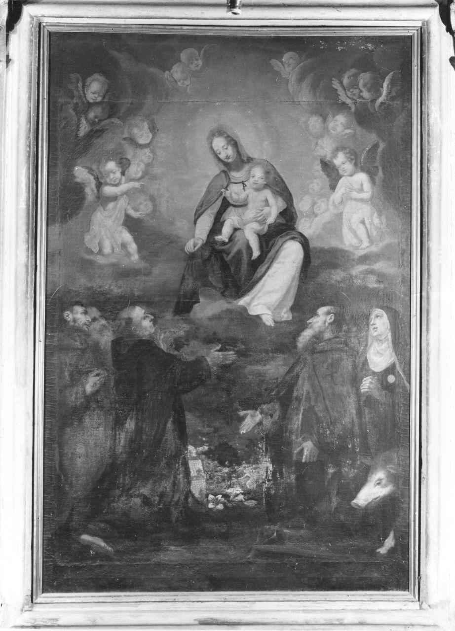 Madonna in gloria tra angeli e santi (dipinto) di Curradi Francesco detto Battiloro (prima metà sec. XVII)