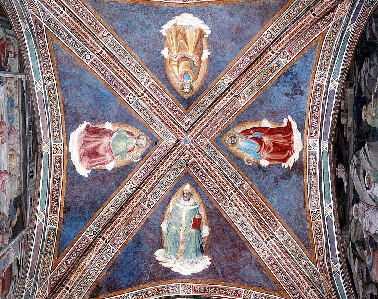 san Valeriano, san Tiburzio, sant'Urbano, santa Cecilia (dipinto) di Lippo di Corso (attribuito) (secc. XIV/ XV)