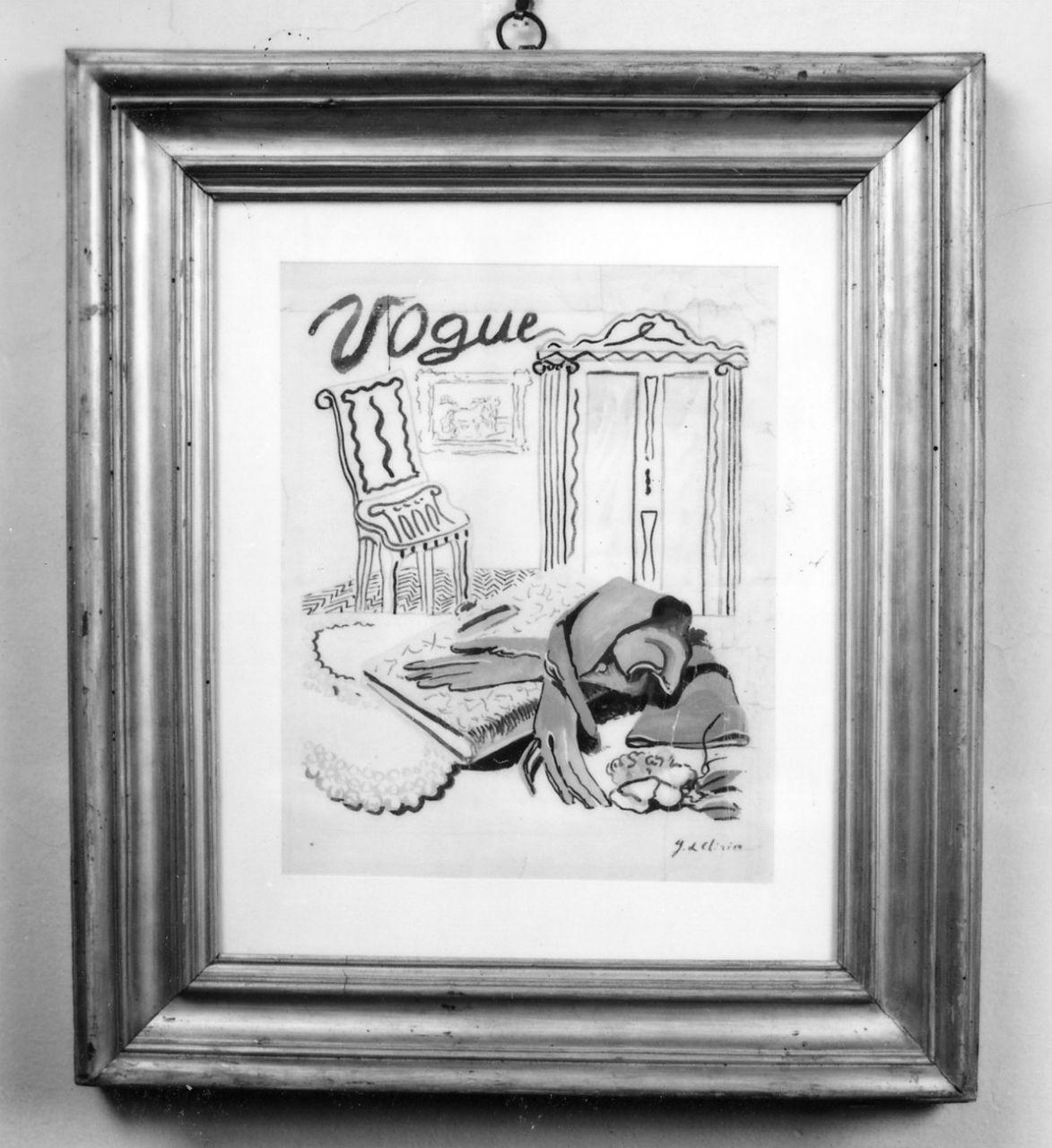 Vogue, interno di casa arredata (disegno) di De Chirico Giorgio (sec. XX)