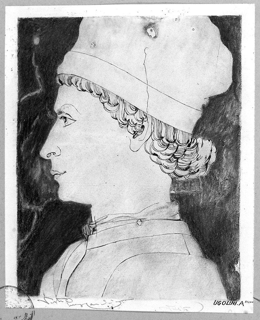 testa d'uomo di profilo (disegno) di Ugolini Anselmo (sec. XX)