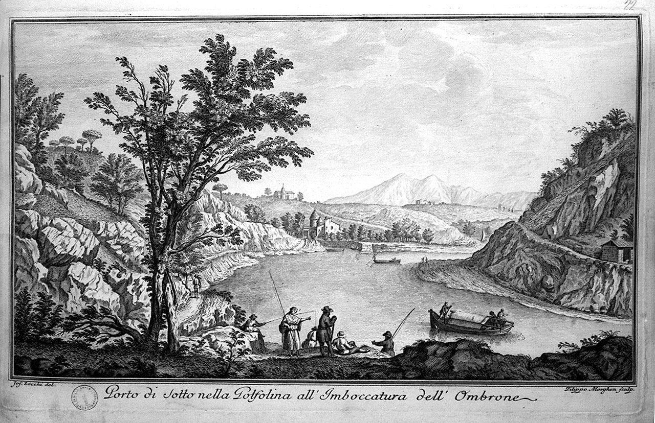 veduta del Porto di Sotto all'imboccatura dell'Ombrone (stampa) di Morghen Filippo, Zocchi Giuseppe (seconda metà sec. XVIII)