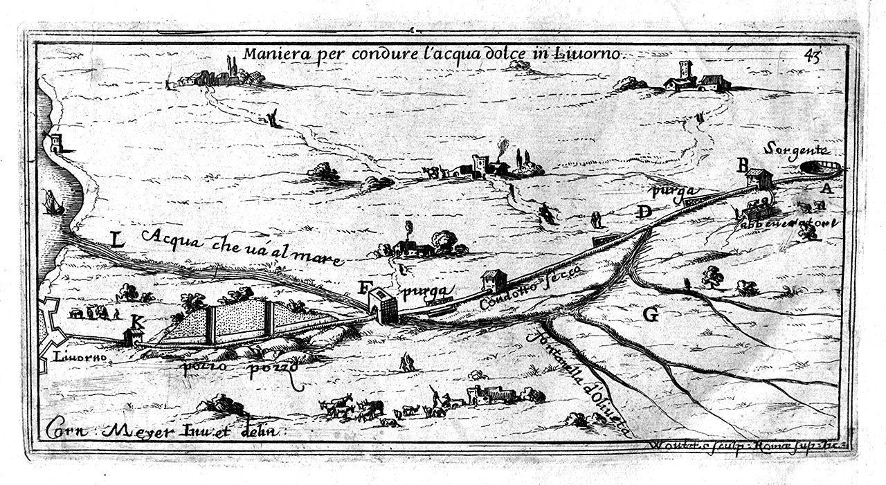 pianta della città di Livorno e progetti di ingegneria idraulica (stampa, serie) di Wouters Gomar, Meyer Cornelis (sec. XVII)