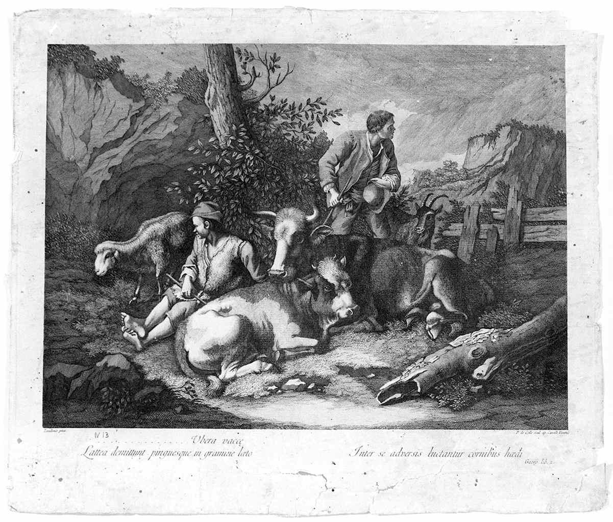 scena pastorale con pastore addormentato (stampa, serie) di Del Colle Pellegrino, Londonio Francesco (fine sec. XVIII)
