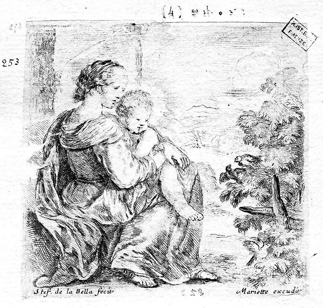 Madonna con Bambino (stampa smarginata) di Della Bella Stefano (sec. XVII)