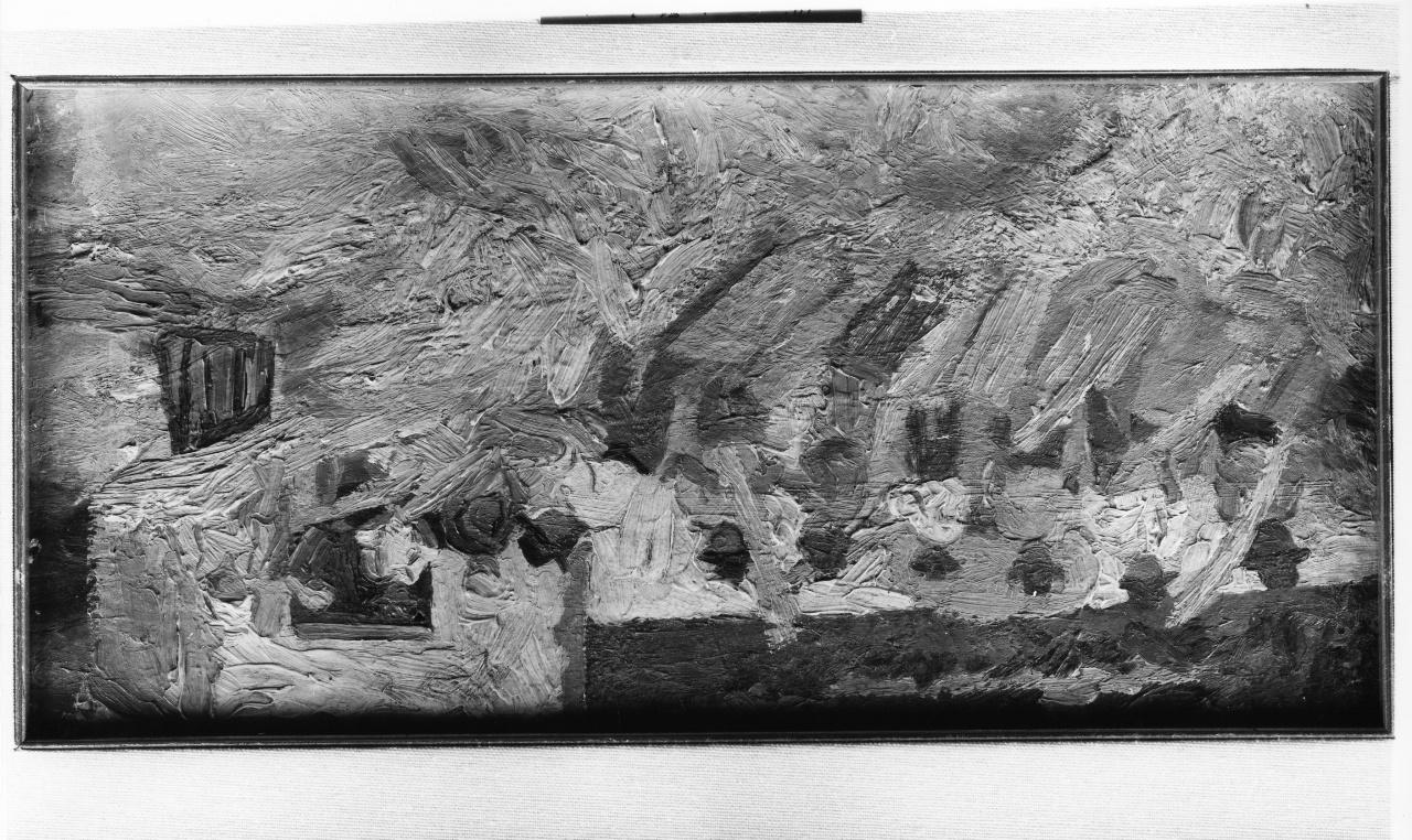 Battitura del grano, scena campestre con figure (dipinto) di Malesci Giovanni (sec. XX)