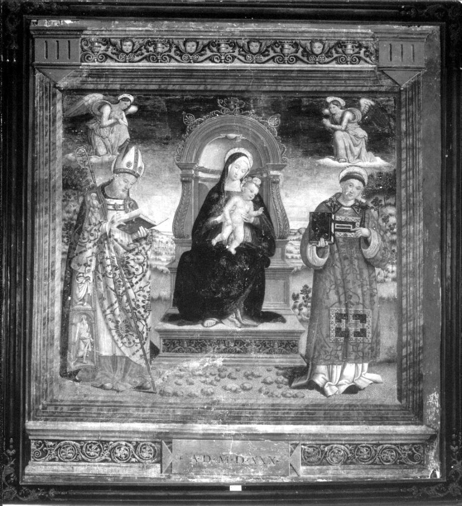 Madonna in trono con Bambino e Santi (dipinto, opera isolata) di Giovanni di Pietro detto Spagna (cerchia) (sec. XVI)