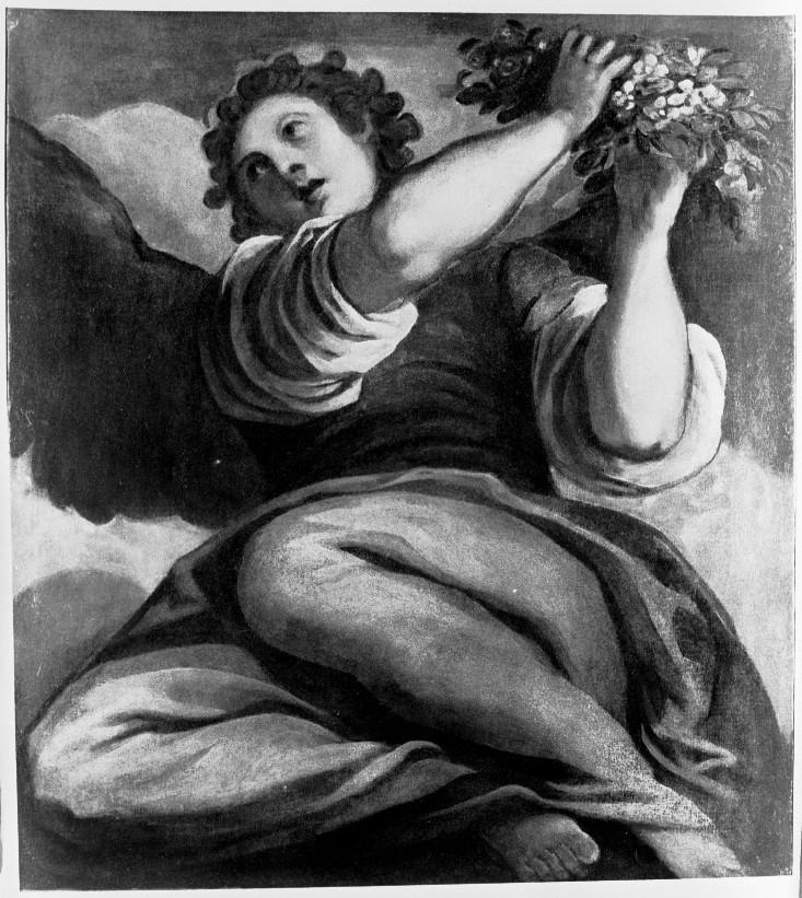 angelo con ghirlanda (dipinto) di Negretti Jacopo detto Palma il Giovane (sec. XVI)