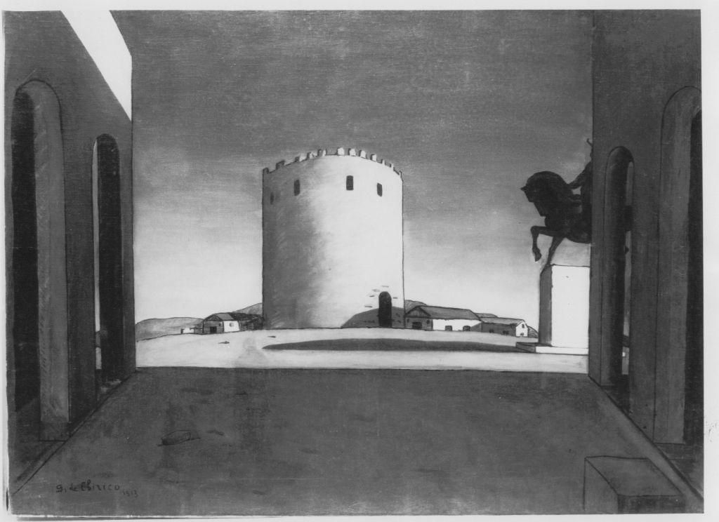 La torre rossa (dipinto) di De Chirico Giorgio (primo quarto sec. XX)