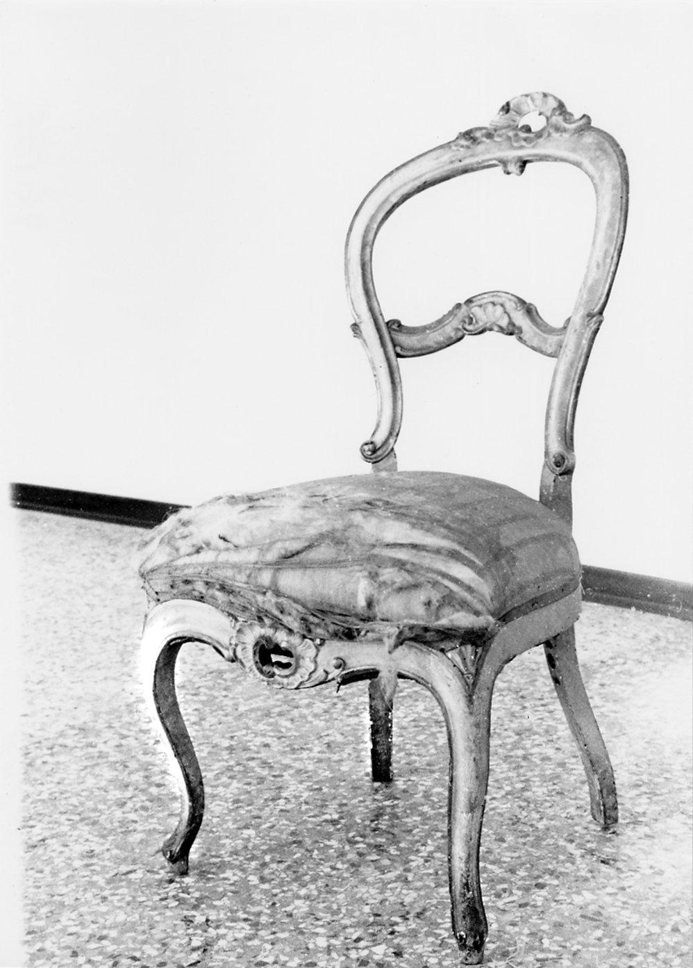 sedia, opera isolata - manifattura lombardo-veneta (metà sec. XIX)