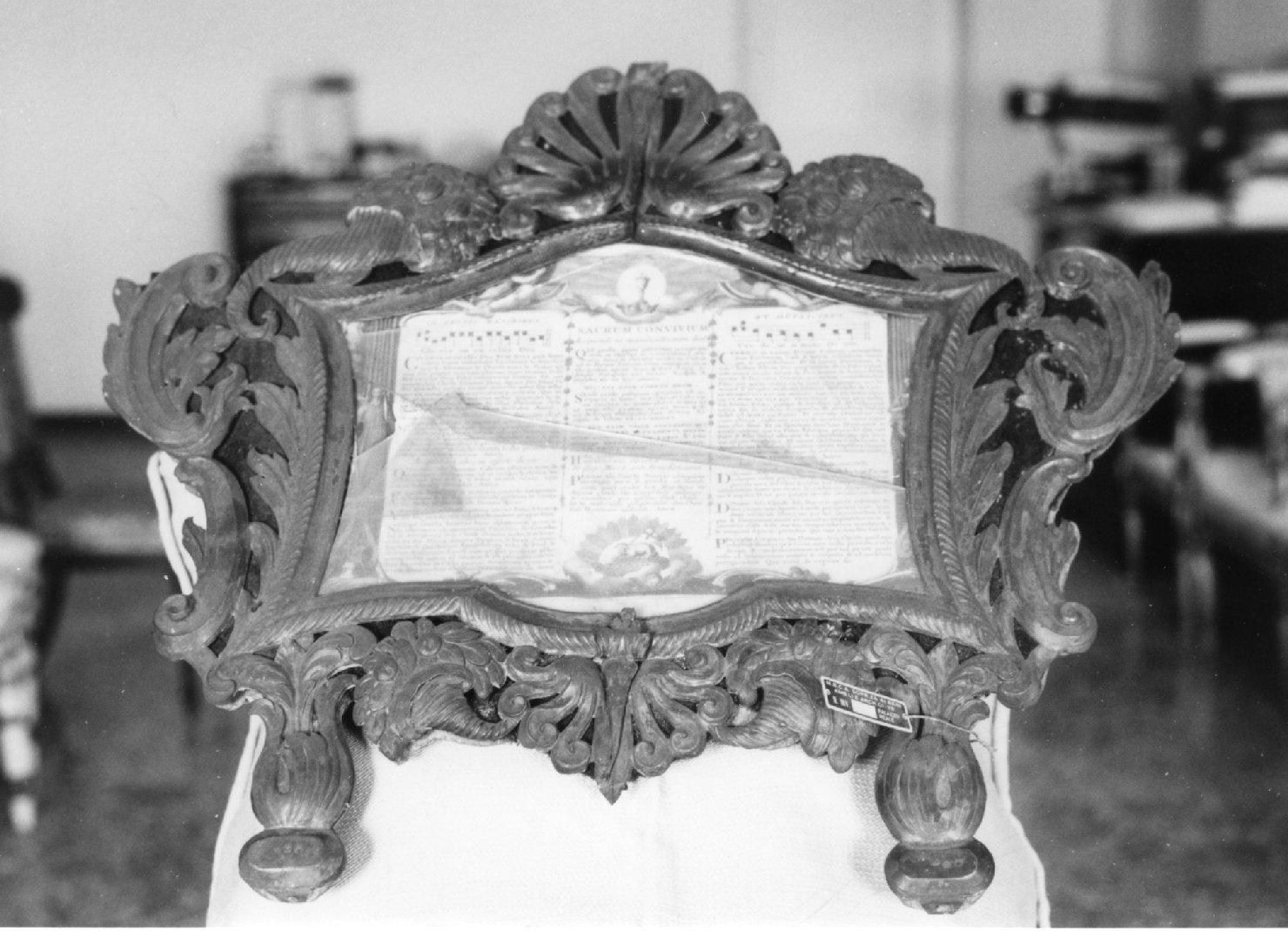 cartagloria, elemento d'insieme - manifattura italiana (metà sec. XIX)