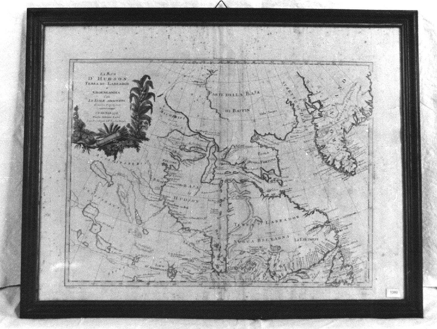 La baja d'Hudson. Terra di Labrador e Groenlandia con le isole adiacenti. Di nuova projezione, geografia (stampa) di Zuliani Giuliano, Pitteri G (sec. XVIII)