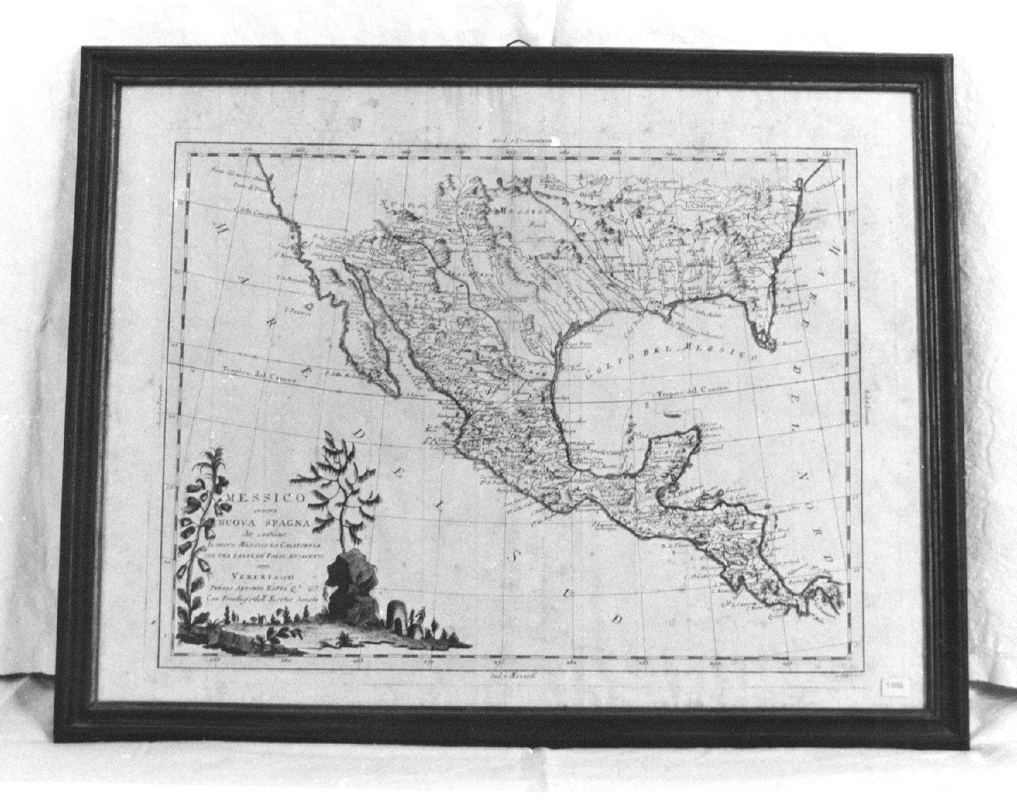 Messico, ovvero nuova Spagna che contiene il Nuovo Messico, la California con una parte dei paesi adjacenti, geografia (stampa) di Pitteri G (sec. XVIII)