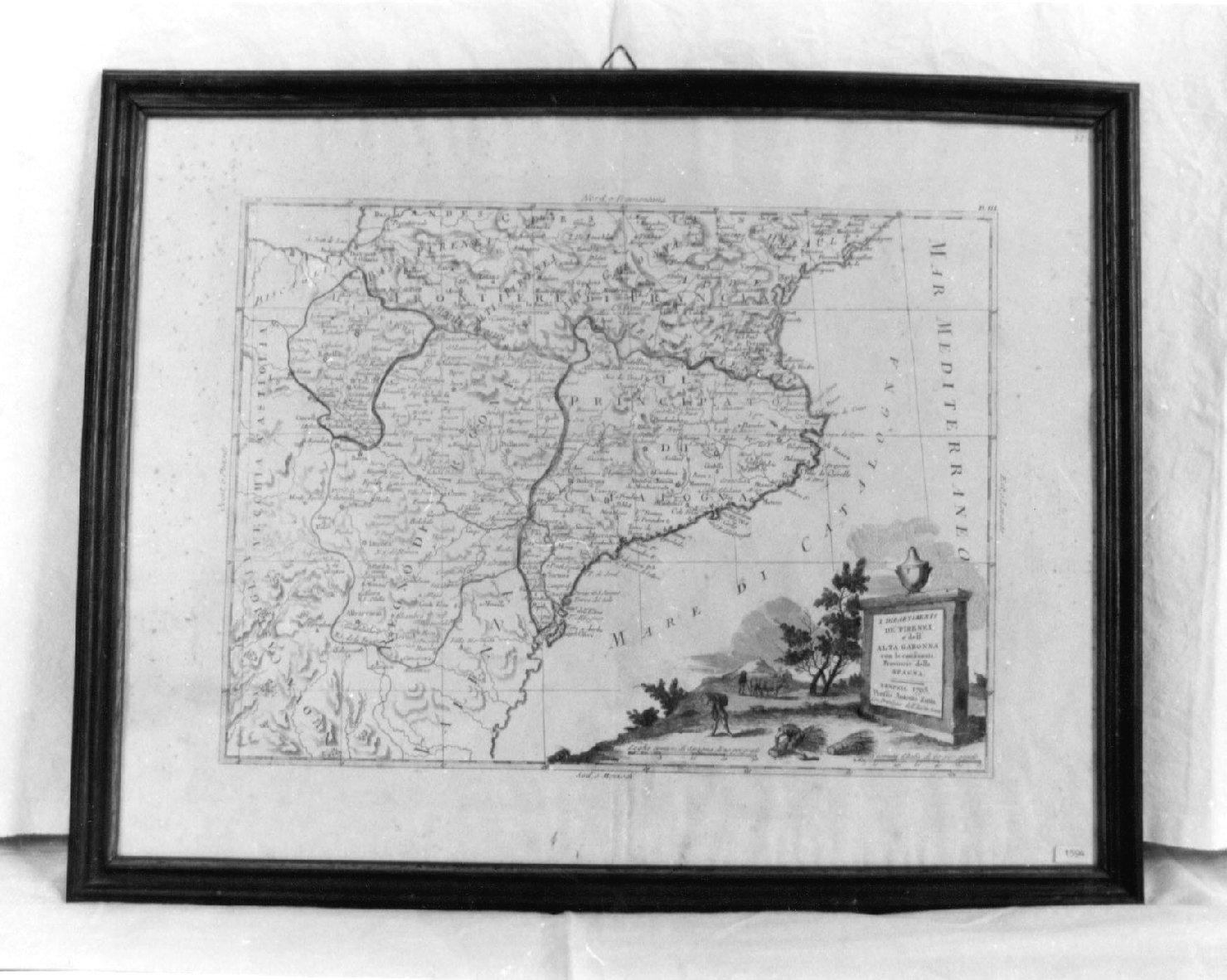 I dipartimenti dei Pirenei e dell'alta Garonna con le confinanti provincie della Spagna, geografia (stampa) - ambito veneziano (sec. XVIII)