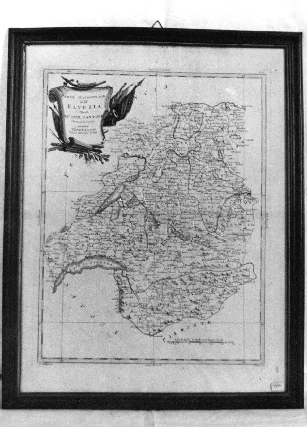 Parte occidentale dell'Elvezia divisa nei suoi cantoni. Di nuova projezion e, geografia (stampa) di Zuliani Giuliano, Pitteri G (sec. XVIII)