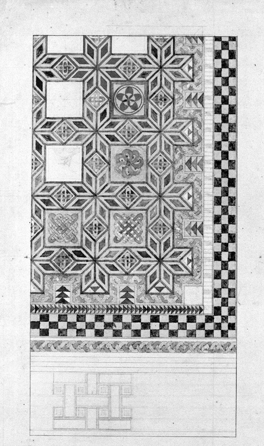 motivi decorativi geometrici (disegno) - ambito Italia settentrionale (seconda metà sec. XIX)