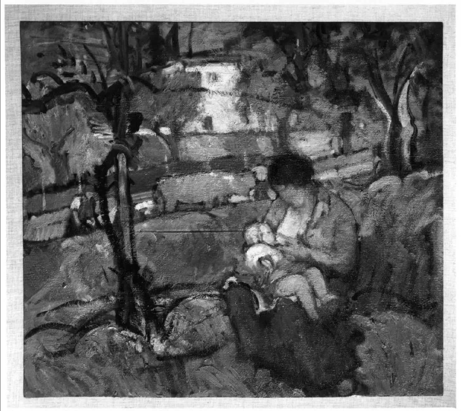 scena campestre con figure (dipinto) di Moggioli Umberto (sec. XX)