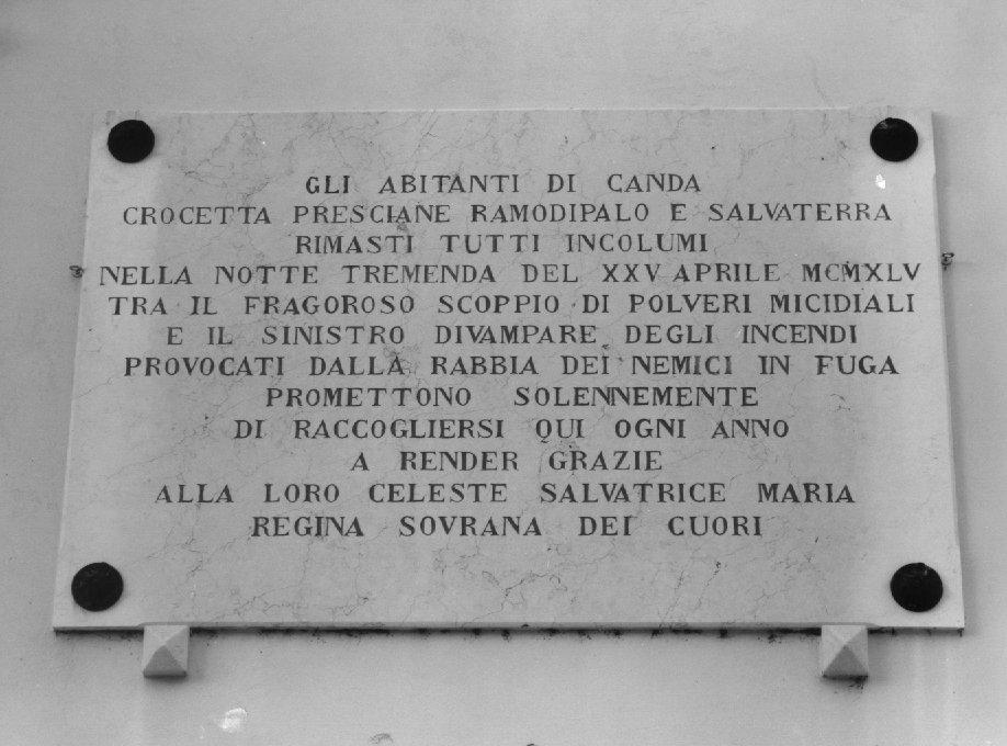lapide commemorativa - ambito veneto (sec. XX)