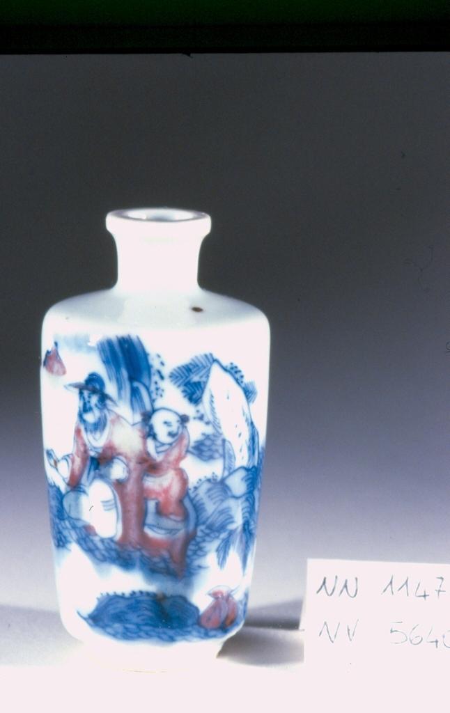 paesaggio con figura e pescatore, scena campestre con figure (tabacchiera, opera isolata) - ambito cinese (sec. XVIII)
