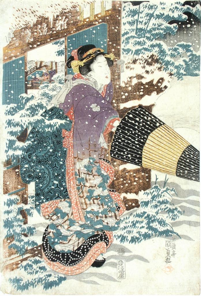 Donna sotto la neve, figura femminile (stampa a colori) di Utagawa Kunisada (sec. XIX)