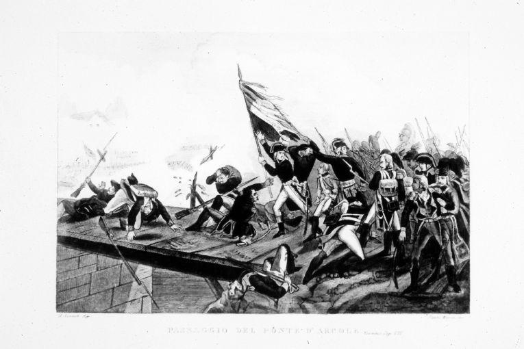 Napoleone Bonaparte guida le truppe francesi al passaggiodel ponte di Arcole (stampa colorata a mano smarginata) di Vernet Horace, Santamaria Carlo (seconda metà sec. XIX)